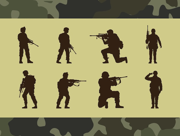 Oito silhuetas de soldados militares