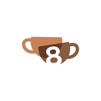 Oito xícaras de café de 8 números sobrepostos a cores do logotipo do ícone de ilustração vetorial