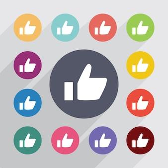 Ok, conjunto de ícones simples. botões coloridos redondos. vetor