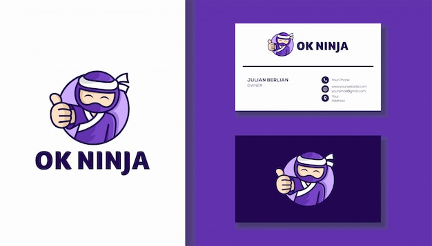 Ok design de logotipo ninja. personagem ninja bonito.