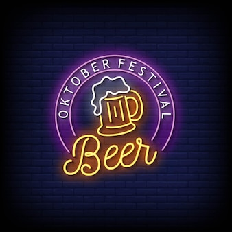 Oktober festival beer neon signs style text vector
