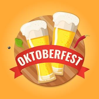 Oktoberfest. banner de convite para o festival de cerveja com copos de cerveja