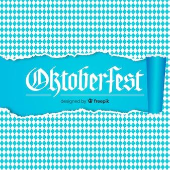 Oktoberfest branco e azul de fundo com papel rasgado