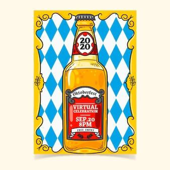 Oktoberfest cartaz modelo mão desenhada