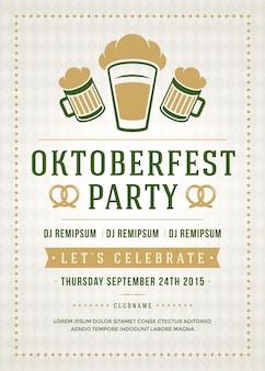 Oktoberfest cerveja festival celebração festa retrô tipografia pôster