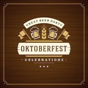 Oktoberfest cerveja festival celebração vintage cartão ou cartaz