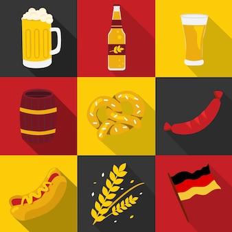 Oktoberfest, cervejas e conjunto de alimentos