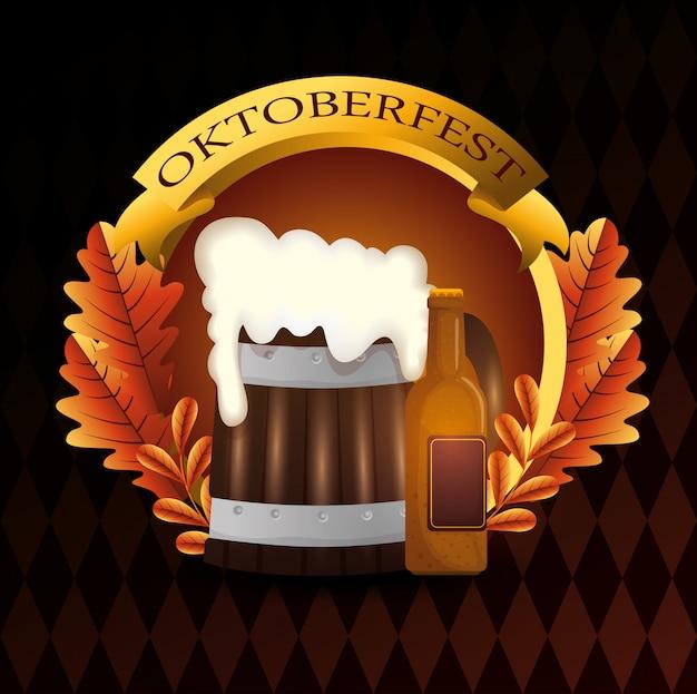 Oktoberfest com ilustração de barril de cerveja
