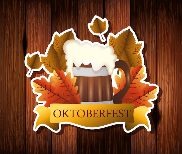 Oktoberfest com jar cerveja e decoração ilustração