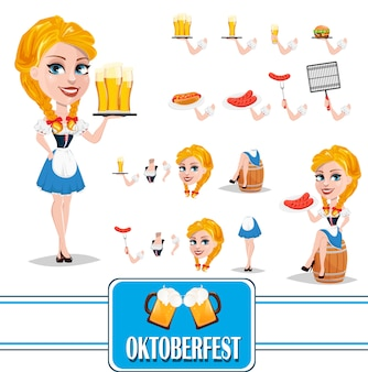 Oktoberfest conjunto de criação de personagem menina ruiva