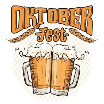 Oktoberfest de mão desenhada com copos de cerveja