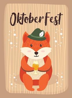 Oktoberfest dos desenhos animados cute animal fox october beer festival