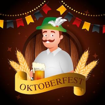 Oktoberfest e homem com ilustração de cerveja