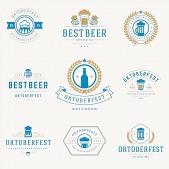 Oktoberfest emblemas e etiquetas definir modelos tipográficos vintage