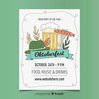 Oktoberfest festival cartaz mão desenhada estilo