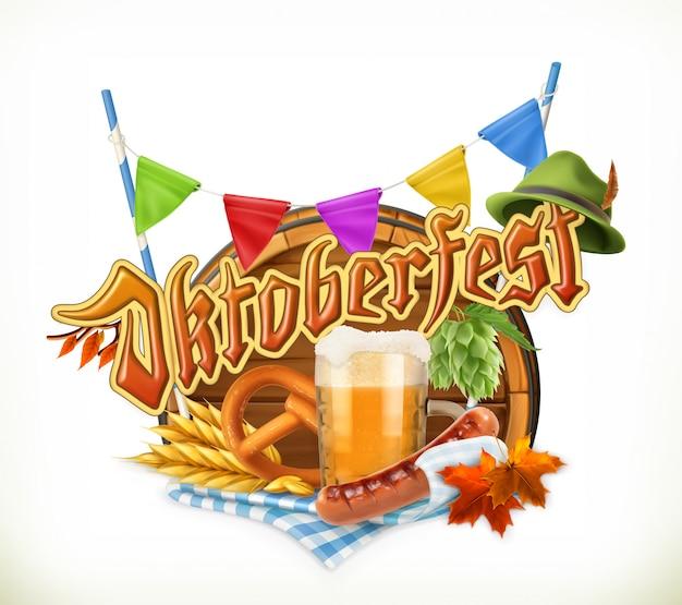 Oktoberfest. festival da cerveja, emblema vetorial