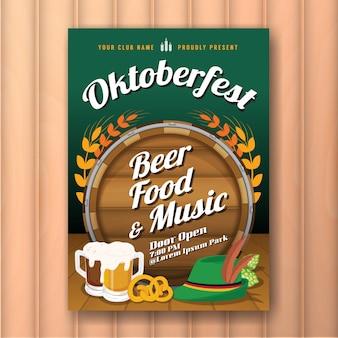 Oktoberfest festival de cerveja propaganda e modelo de folheto