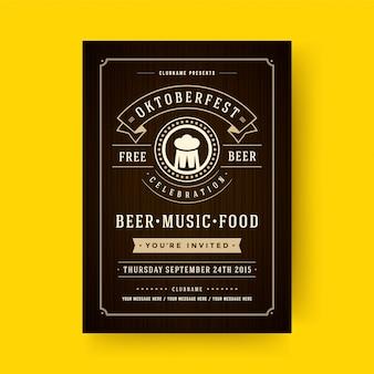 Oktoberfest flyer ou cartaz design de modelo de tipografia retrô convite cerveja festival celebração