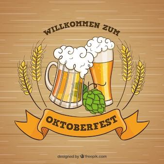 Oktoberfest, insígnias com lúpulo e cerveja