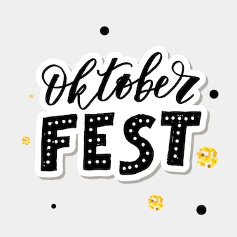 Oktoberfest letras caligrafia escova texto férias vetor ouro