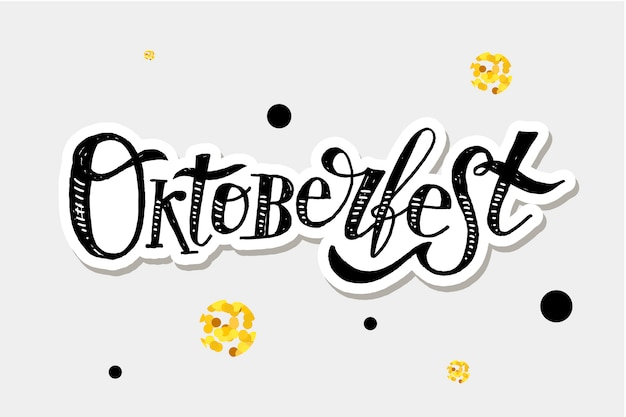 Oktoberfest lettering caligrafia escova texto férias adesivo