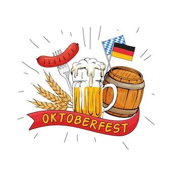 Oktoberfest mão desenhada ilustração vetorial.