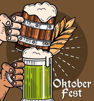 Oktoberfest mãos com cerveja
