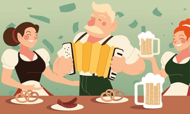 Oktoberfest masculino e feminino com design de linguiças de cerveja e pretzels, festival da alemanha e tema de celebração
