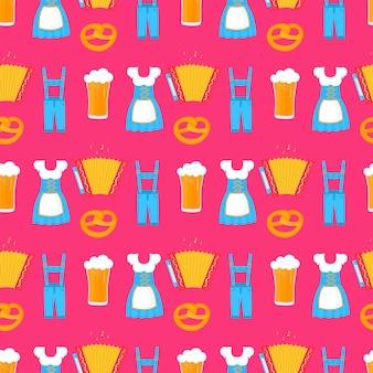 Oktoberfest - padrão sem emenda do festival da baviera. vestido dirndl feminino alemão tradicional e lederhosen masculino. cerveja, pretzel, acordeão.