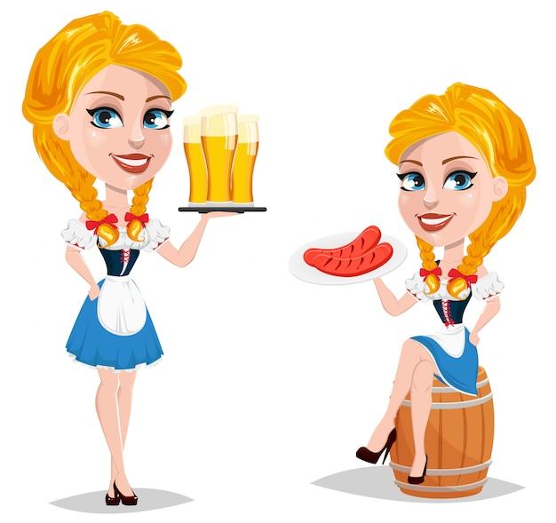 Oktoberfest personagem de desenho animado de menina ruiva