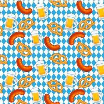 Oktoberfest pretzel de cerveja e padrão de salsicha