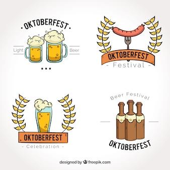 Oktoberfest, quatro emblemas desenhados à mão