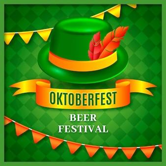 Oktoberfest realista com chapéu e penas