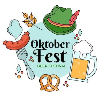 Oktoberfest tradicional de chapéu e comida