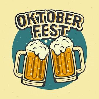 Oktoberfest vintage com canecas de cerveja