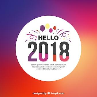 Olá 2018 de fundo em um gradiente de cor roxa