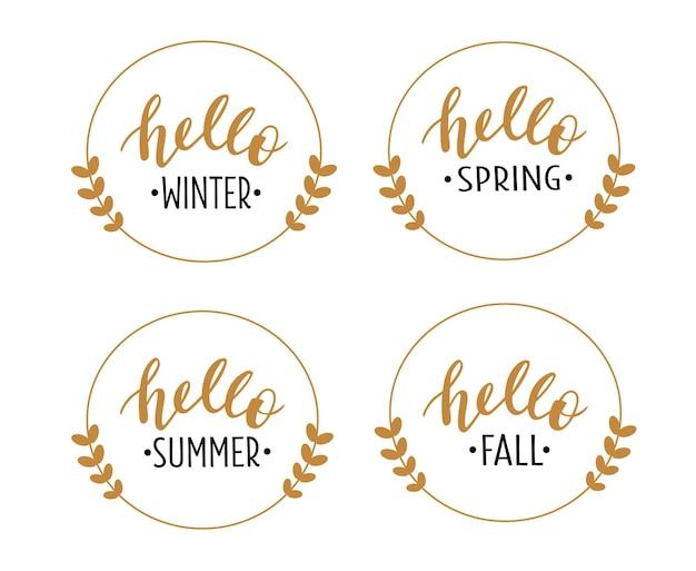 Olá 4 temporadas definidas letras desenhadas à mão