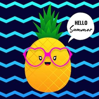 Olá abacaxi de verão kawaii