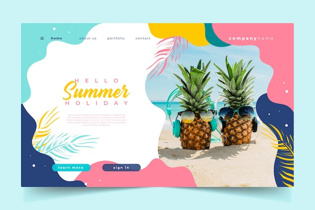 Olá abacaxi de verão landing page com óculos