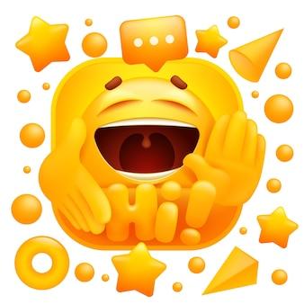 Olá, adesivo da web. personagem de emoji amarelo no estilo 3d dos desenhos animados.