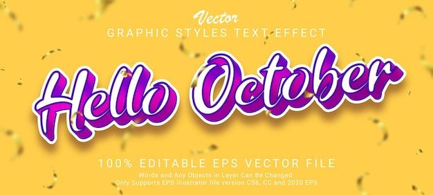 Olá, adesivo estilo de efeito de texto de outubro