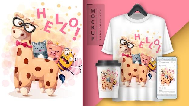 Olá amigos poster e merchandising