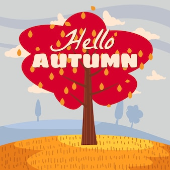Olá árvore solitária de outono paisagem no horizonte de panorama de estilo plano dos desenhos animados de tendência