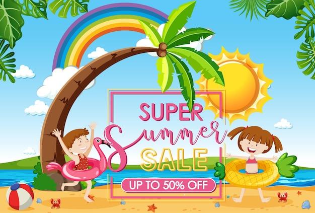 Olá banner de liquidação de verão com muitas crianças na praia