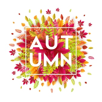 Olá, banner de outono com folhas de outono de cores diferentes