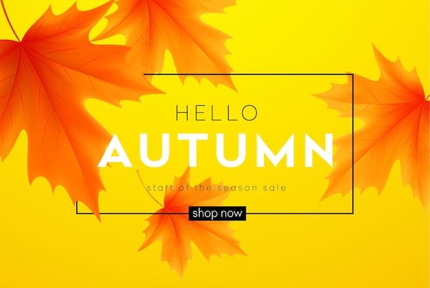 Olá, banner de outono com letras e folhas de bordo de outono amarelas.