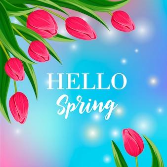 Olá banner de primavera com tulipa florescendo