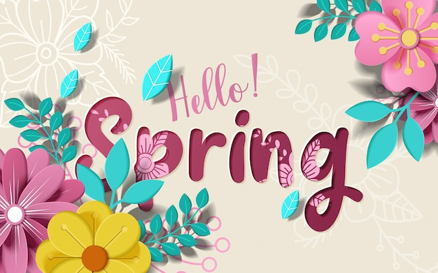 Olá banner de primavera. textura da moda.