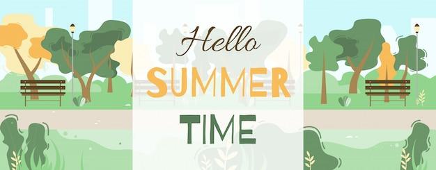 Olá banner de saudação de horário de verão com desenhos animados