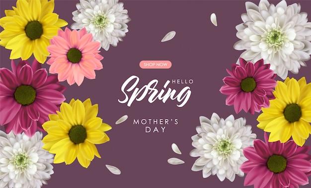 Olá banner de venda de primavera